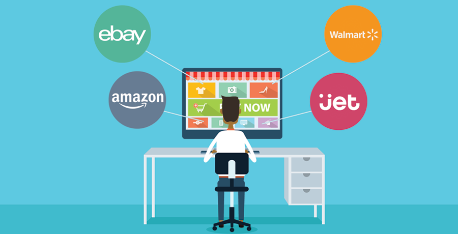 Illustration of multiple online marketplaces - eBay, Amazon, Walmart and Jet