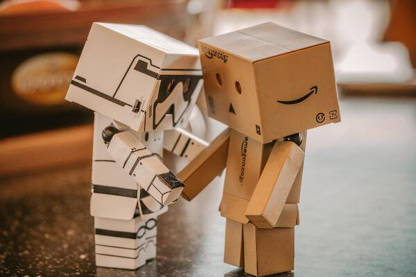 An Image of Bot box Stormtrooper and Amazon