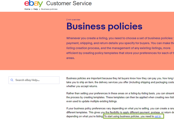 Ebay S New Business Policies How To Assign The Policies Within Selleractive