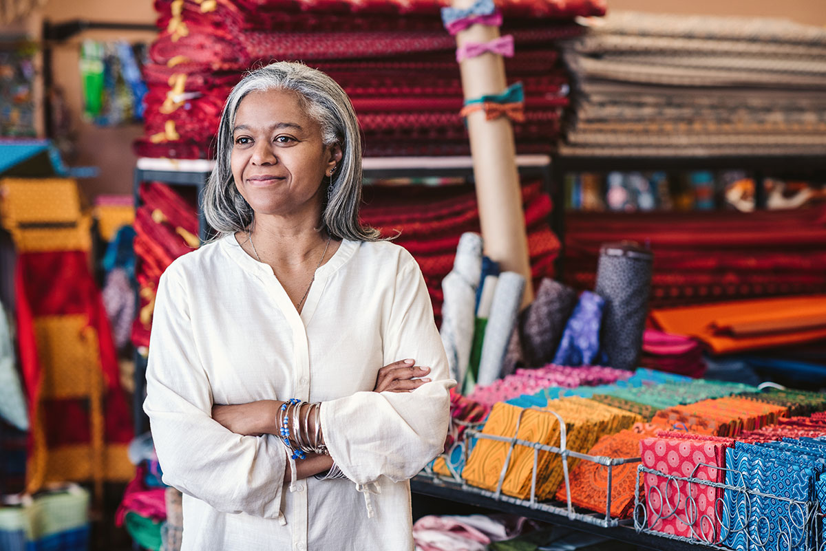 Woman working in a fabric and homewares store