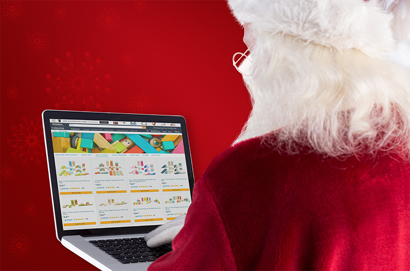 Santa shopping on Amazon